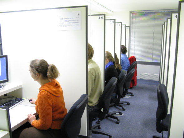 People at work in a decision research lab