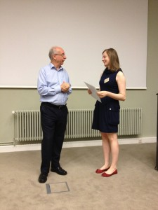 Photo of Katherine Thompson talking to Gerd Gigerenzer at the Max Planck Institute for Human Development